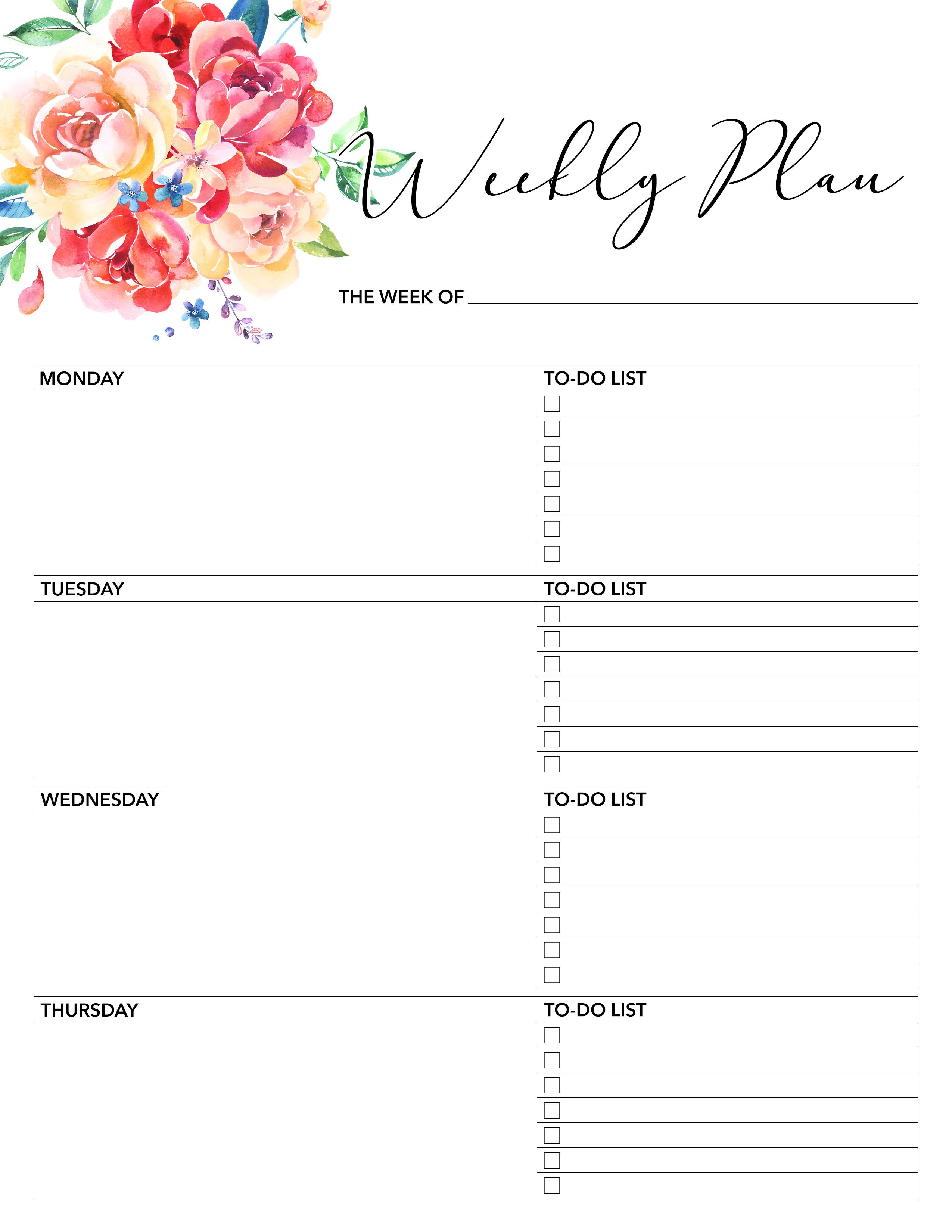free printable weekly planner 2018
