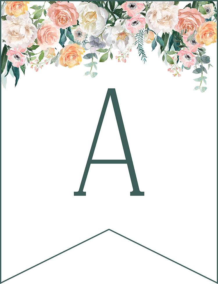 complete free printable floral banner set mason jar wedding the cottage market. Black Bedroom Furniture Sets. Home Design Ideas