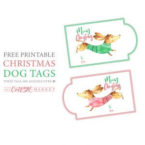 Free Printable Christmas Dog Tags