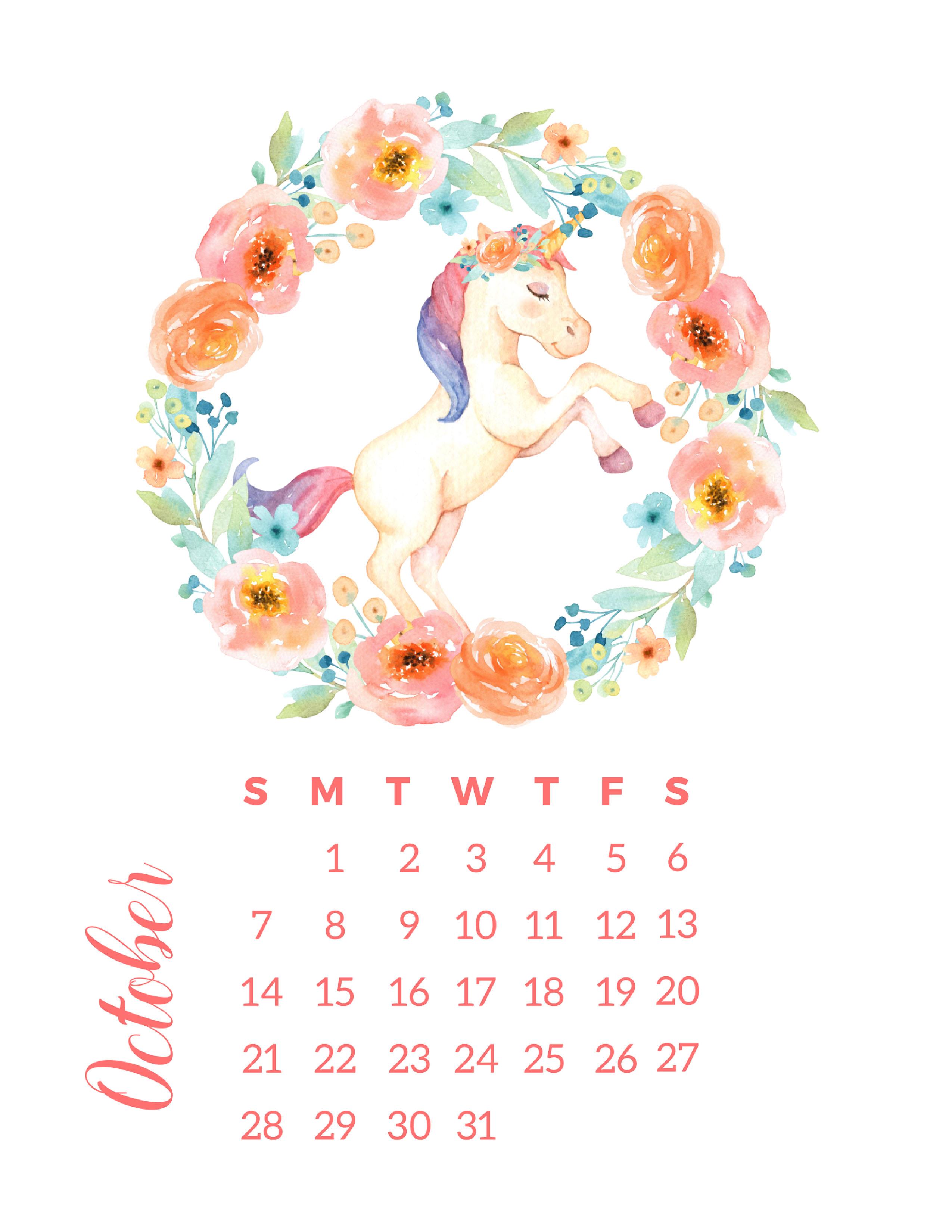 Free Printable 2018 Watercolor Unicorn Calendar - The ...