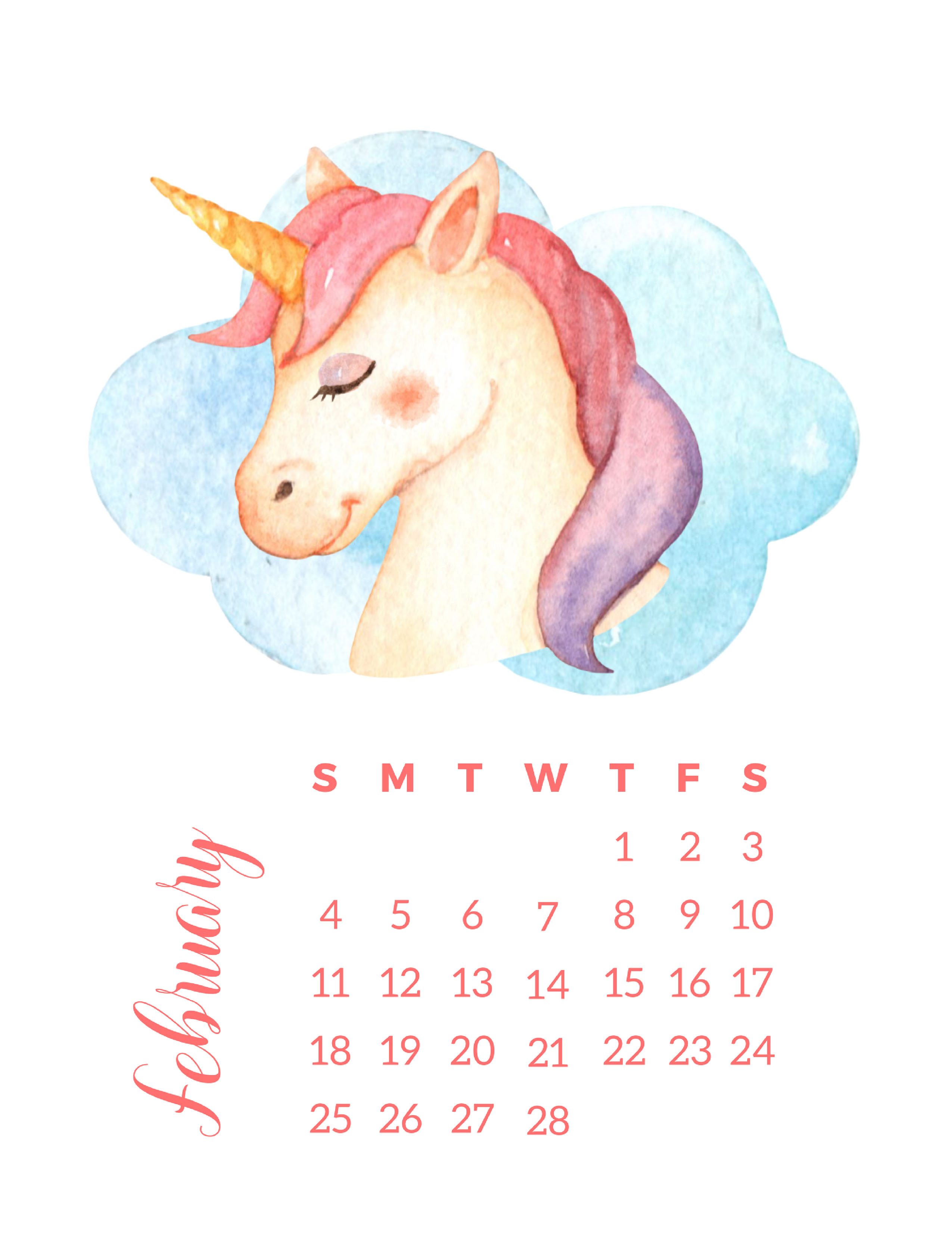 photograph regarding Be a Unicorn in a Field of Horses Free Printable named Totally free Printable 2018 Watercolor Unicorn Calendar - The