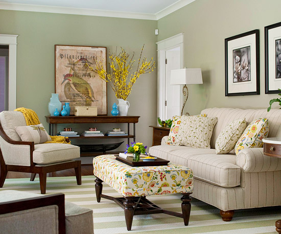 Sage Green In The Living Room Works Like A Charm This Traditional Style Farmhouse Looks Perfect Place For Tea And Good Book
