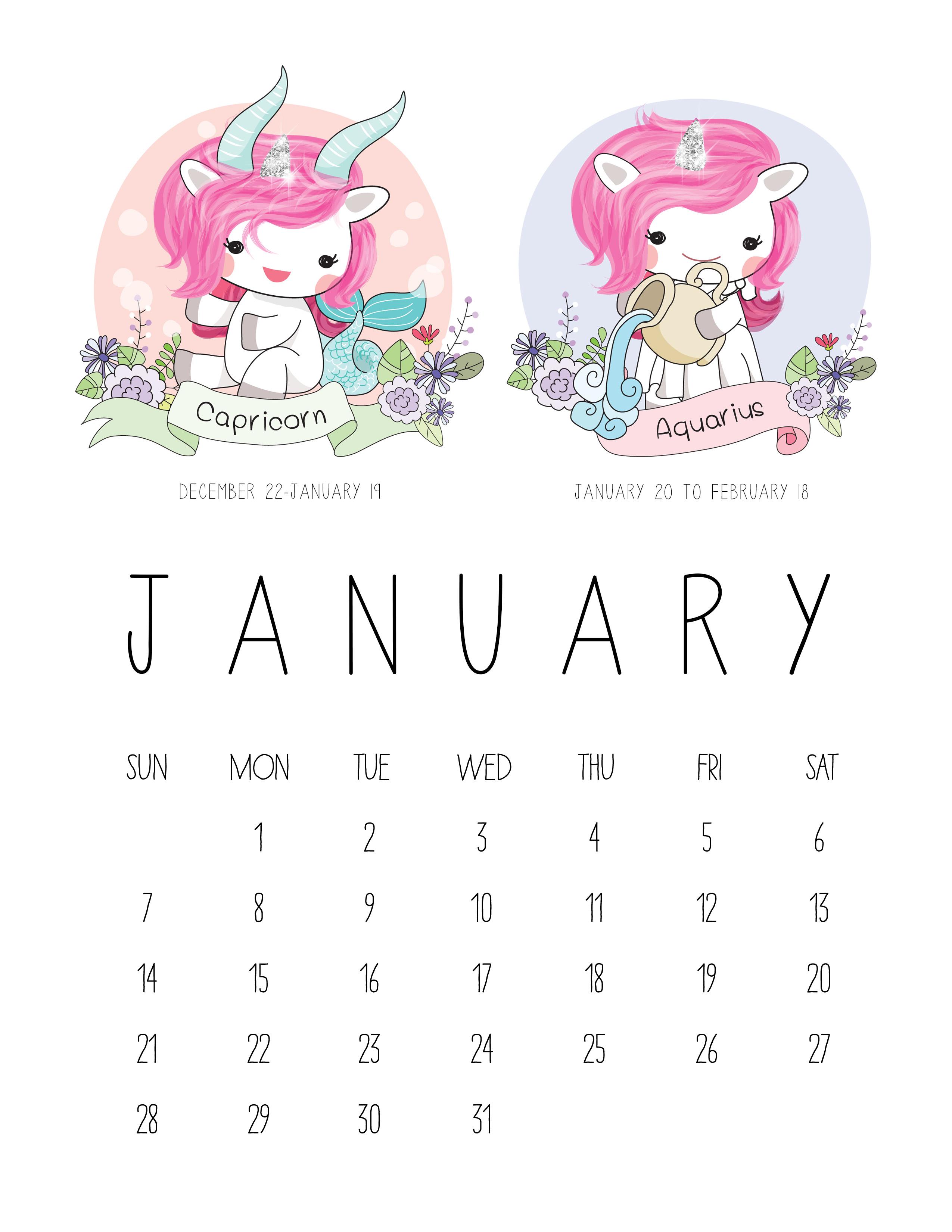Zodiac Calendar June : Tcm unicorn zodiac calendar the cottage market