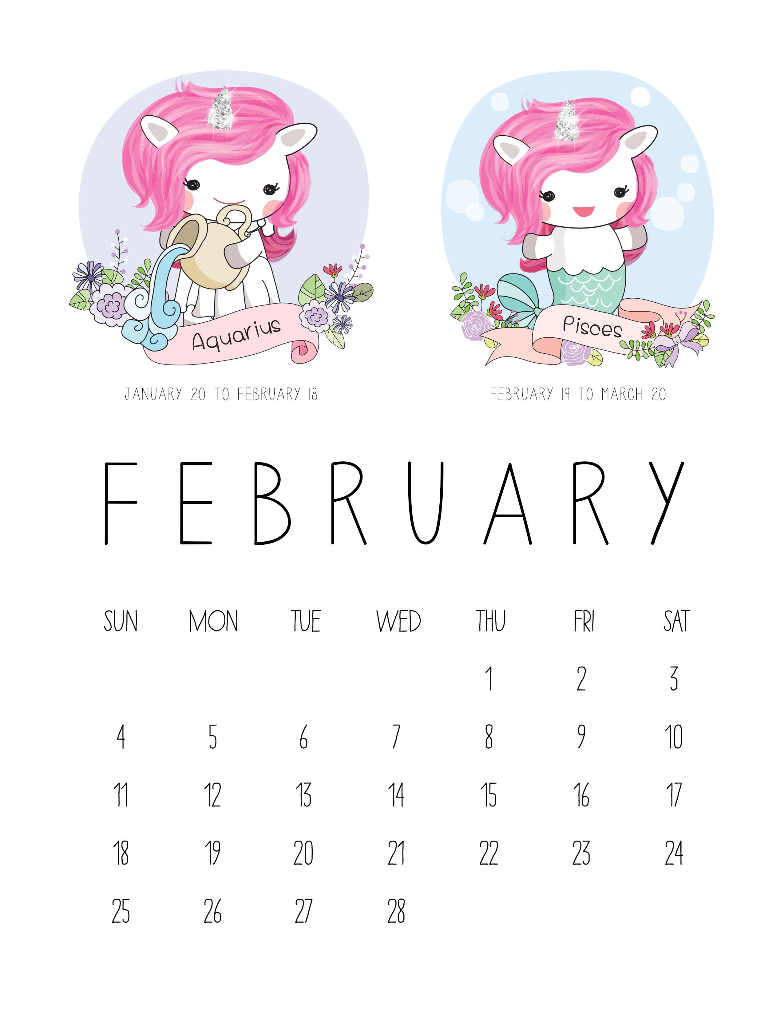 Free Printable 2018 Zodiac Sign Kawaii Unicorn Calendar ...