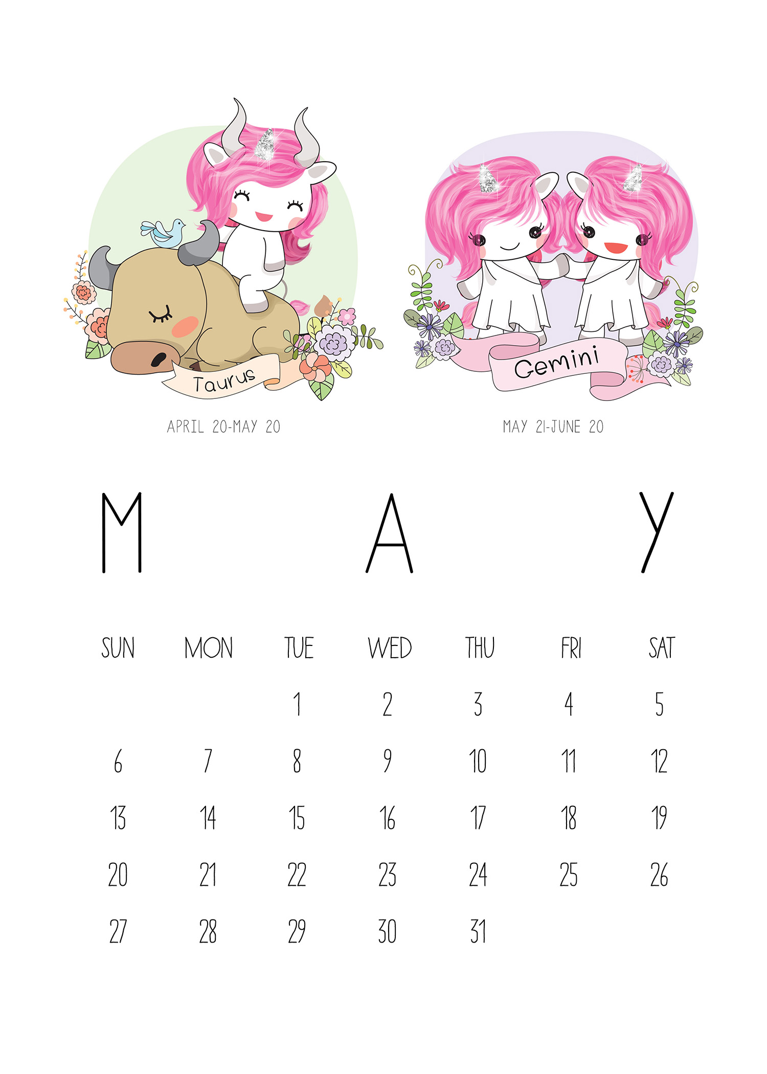 Printable Calendar Kawaii : Free printable zodiac sign kawaii unicorn calendar