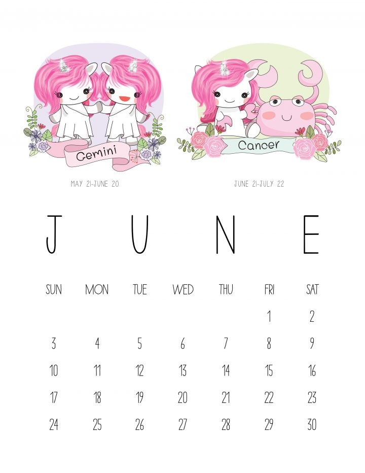 Free Printable 2018 Zodiac Sign Kawaii Unicorn Calendar ...