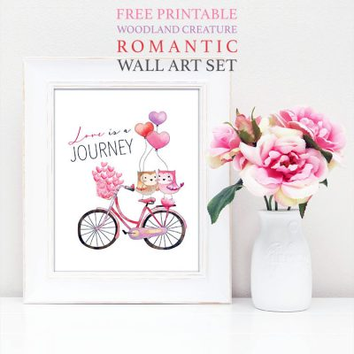 Free Printable Woodland Creature Romantic Wall Art Set
