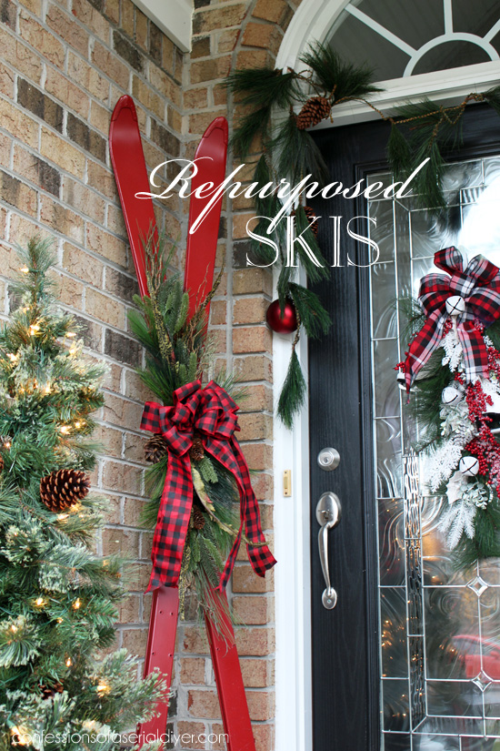 These skis make the perfect holiday front door decor.