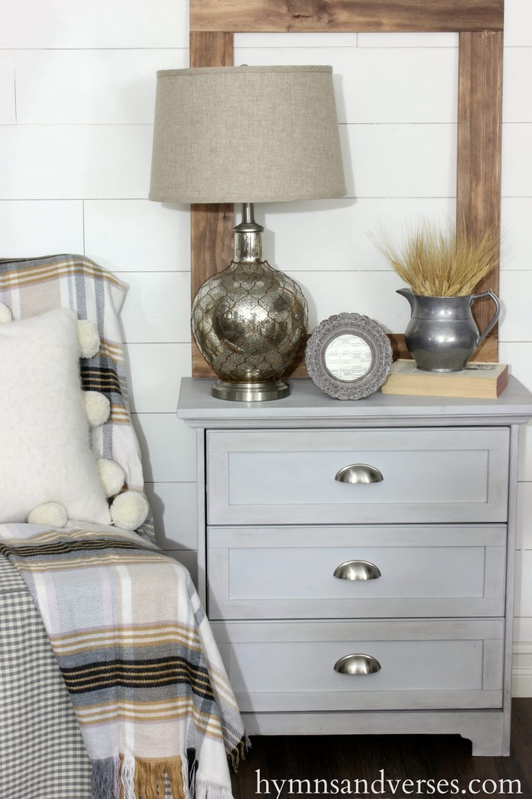 This simple nightstand is the perfect farmhouse element for any room.