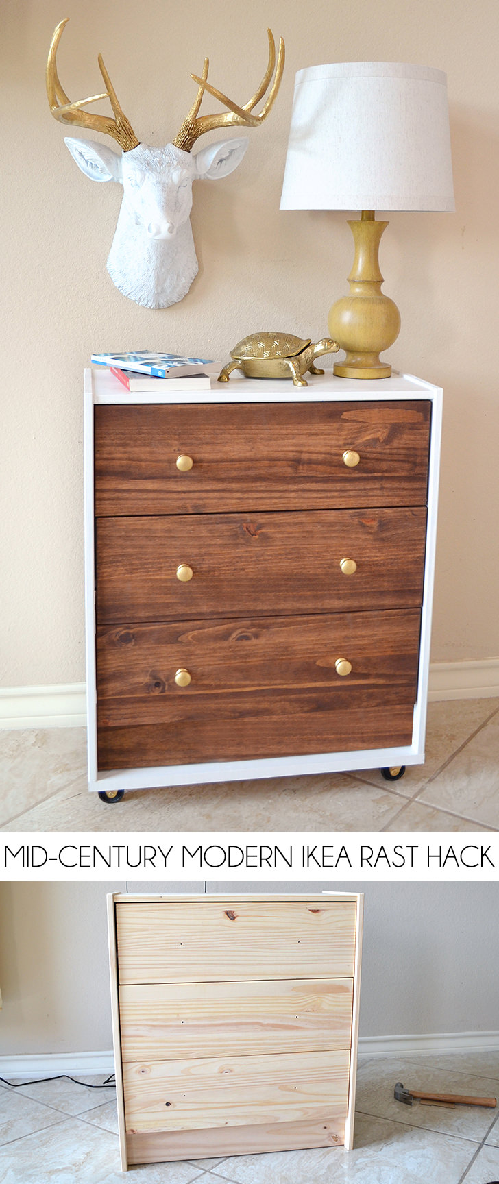 This mid century modern chest stained with gold knobs is farmhouse chic.