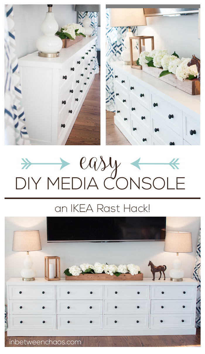 This DIY media console is full of storage and simple to assemble.