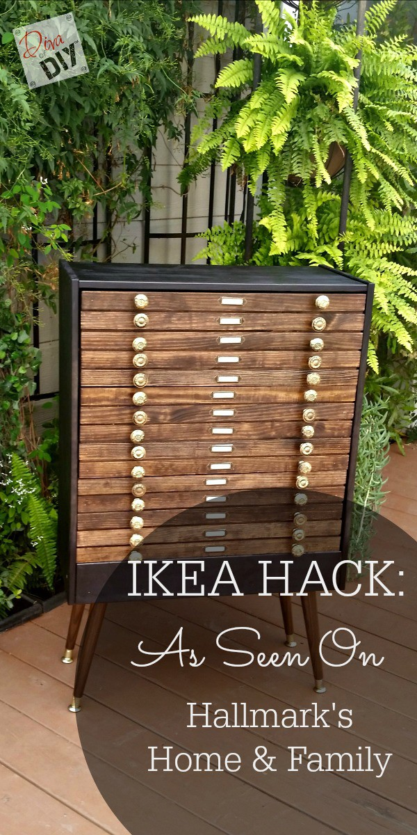 This re-purposed card catalog is great storage.