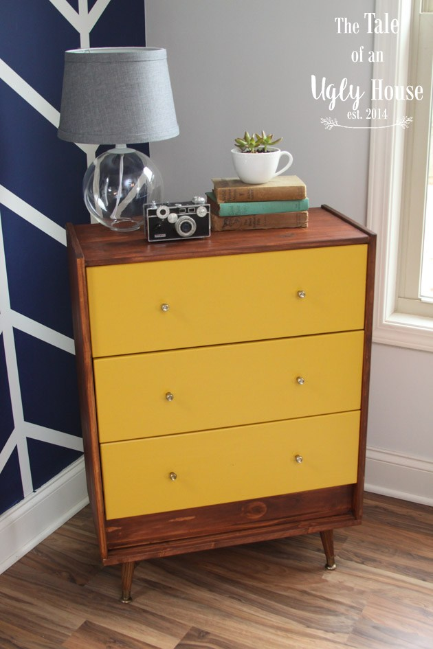 The IKEA rast dresser is so versatile that you can transform it in so many different ways, like this dark stained and bright yellow painted dresser