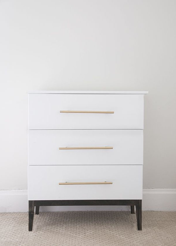An IKEA Tarva with some paint and gold hardware is a simple, modern dresser that will look amazing in any style room