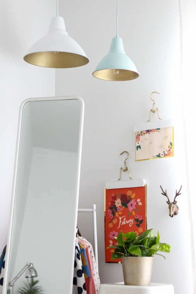 Upgrade these IKEA pendant lamps with some paint for modern lighting that looks great in a bedroom or bathroom