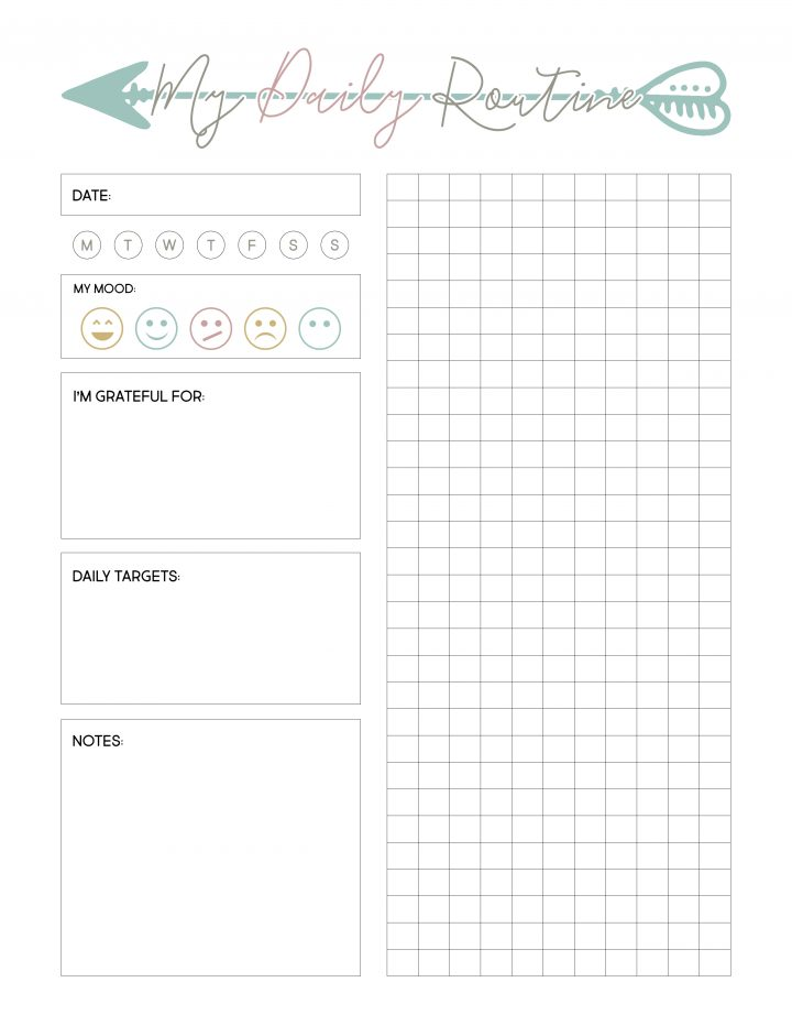 Use this free pintable to track your daily routine and mood.