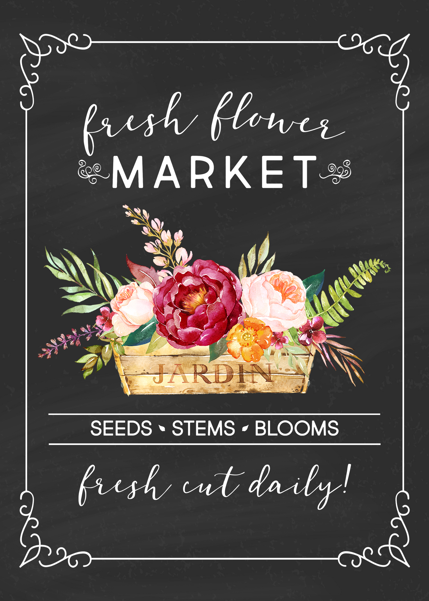 free printable farmhouse fresh flower market wall art        4 different versions