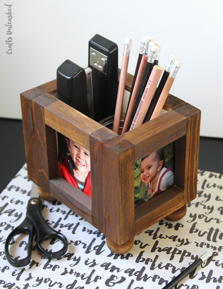 This Little Diy Desk Organizer Frame Project Serves As A Holder For Your Pens Pencil Scissors Markerore Plus You Can Fill Those 4 Frames With The
