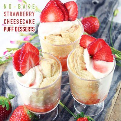 No-Bake Strawberry Cheesecake Puff Dessert