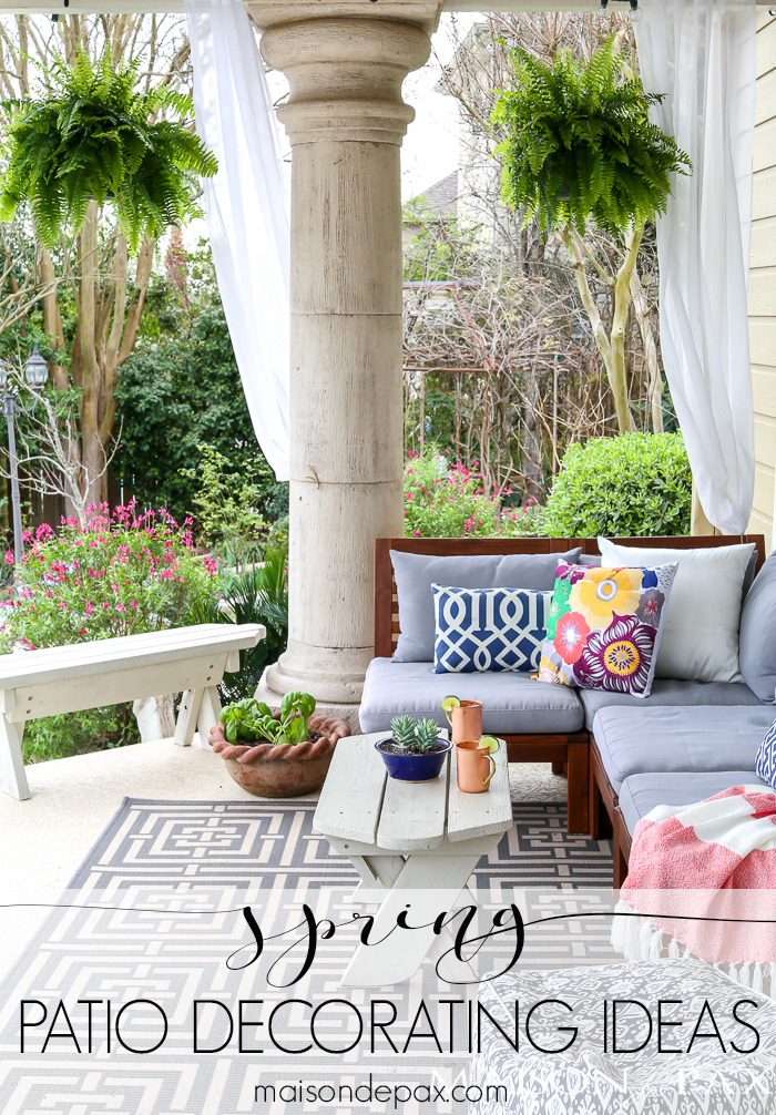 This spring patio is decorated with bright pastels