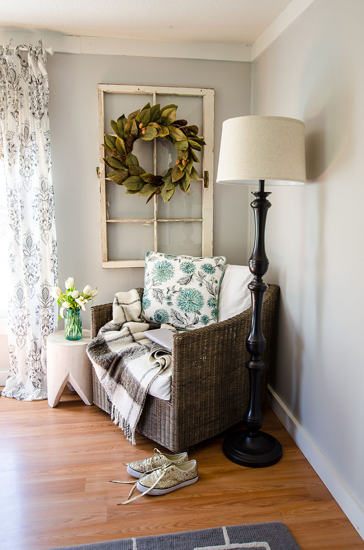 The Shabby Creek Cottage is full of quaint little corners like this cozy reading corner