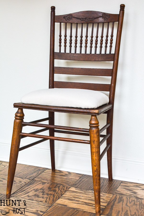 This refurbished wood chair stained dark is classic and looks brand new.