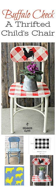 This DIY checkered chair with a rooster is farmhouse and fun.
