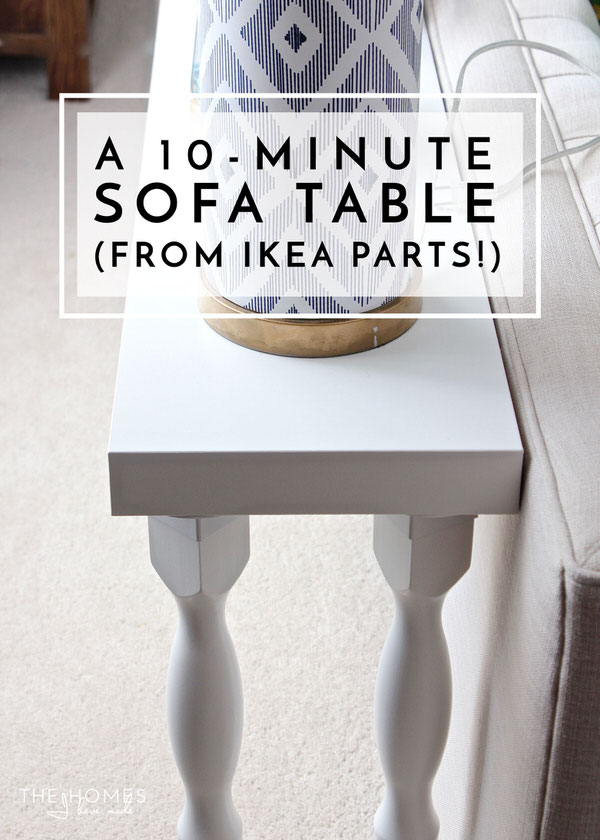 This sofa table comes together in just 10 minutes from various IKEA parts - so easy!