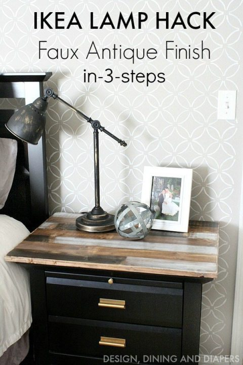 A faux antique finish on this IKEA lamp gives it a whole new look