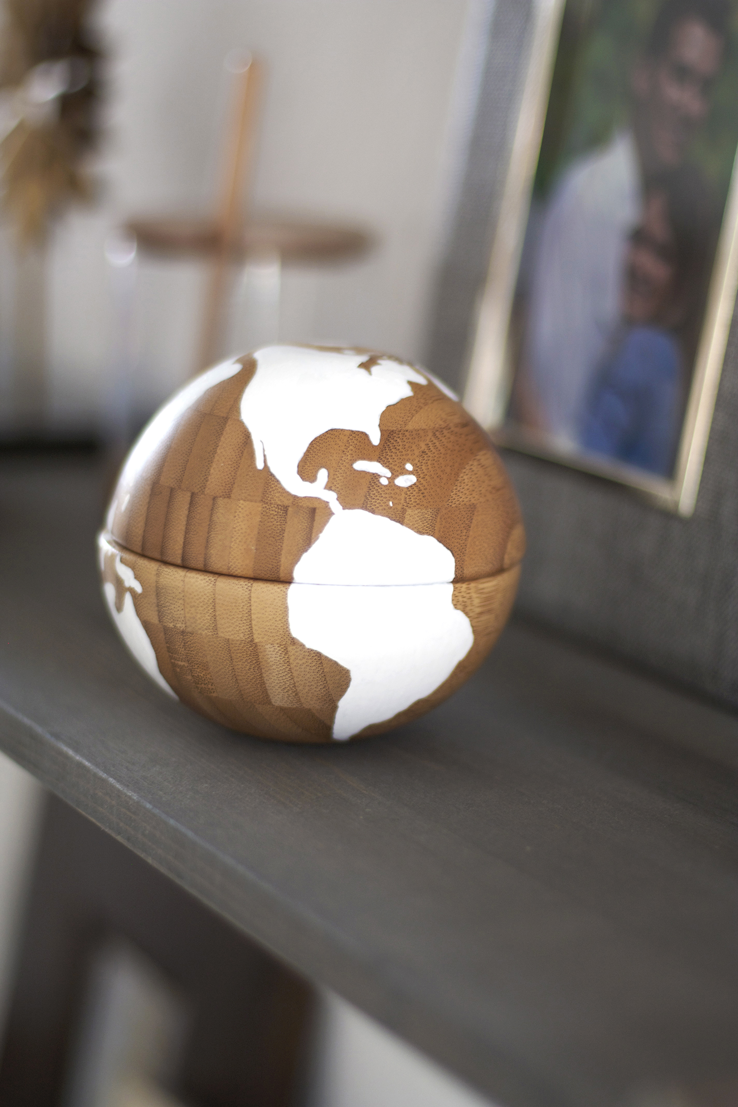 Two wooden IKEA bowls make this simple yet stunning DIY globe