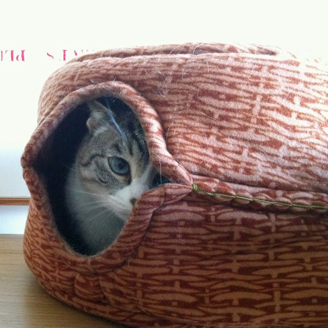 This cat bed is a simple DIY hideout for your feline friend