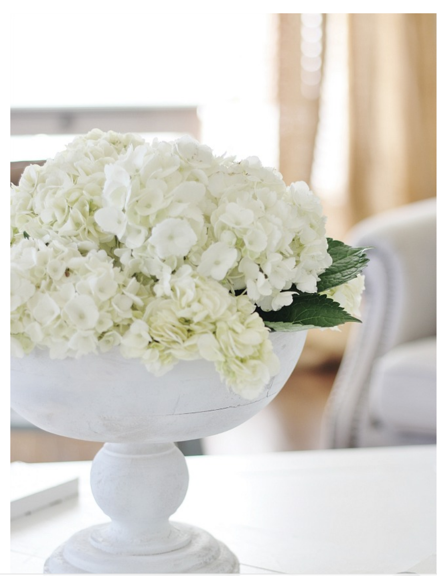 These white flowers in a white classic vase add brightens to the coffee table.