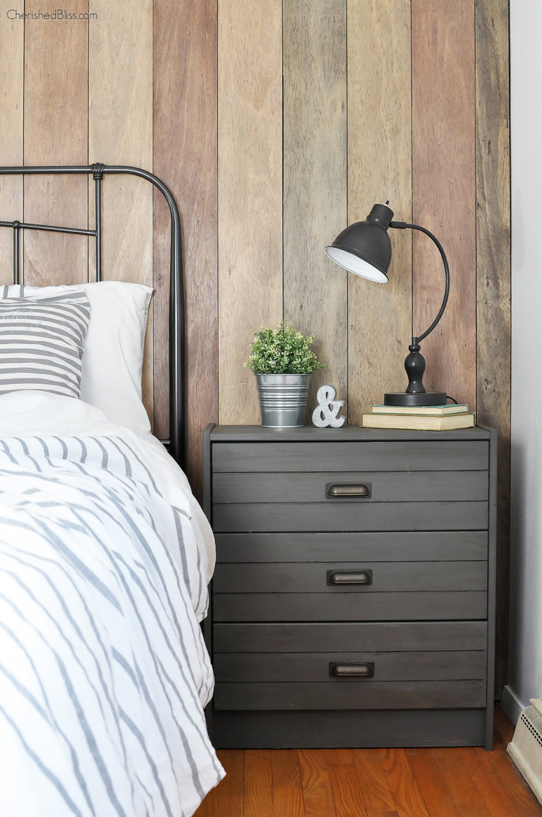 All this IKEA side table hack needed was a coat of charcoal paint to give it a rustic farmhouse style look
