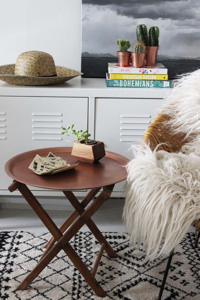 This IKEA side table has a copper tray surface that totally upgrades it from a simple table to a statement piece