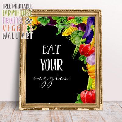 Free Printable Farmhouse Fruits and Veggies Wall Art