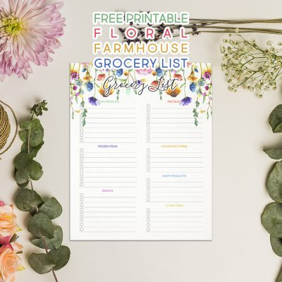 Free Printable Floral Farmhouse Grocery List