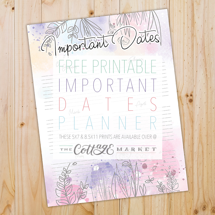picture regarding Printable Dates known as Absolutely free Printable Significant Dates Planner - The Cottage Marketplace