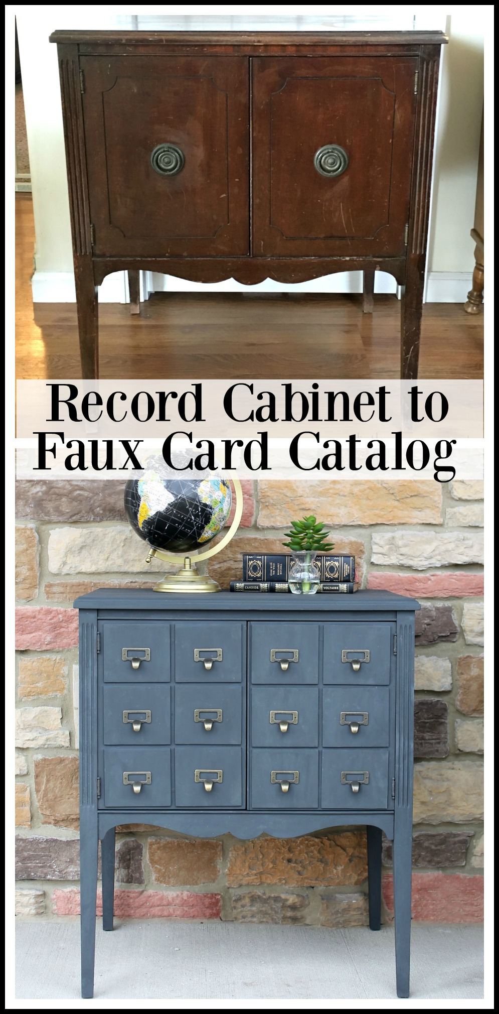 This repainted cabinet has lots of storage and adds a pop of color.