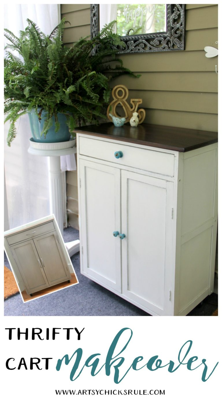 This thrifty repurposed dresser with turquoise hardware is adorable.