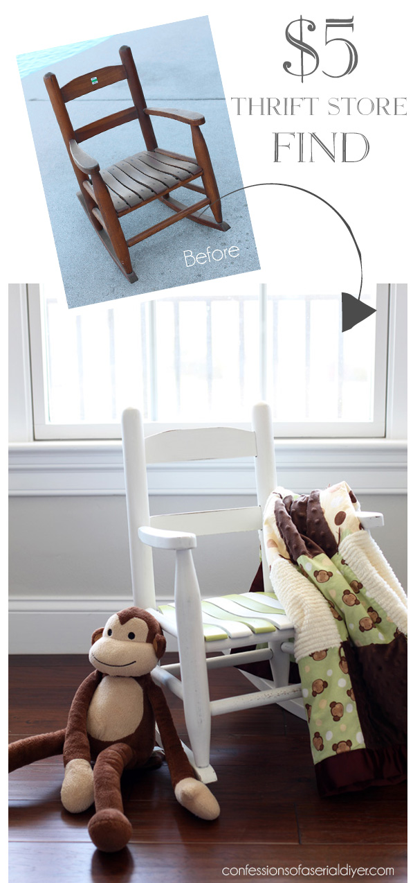 This thrift store rocking chair find painted white is great for a kids room.