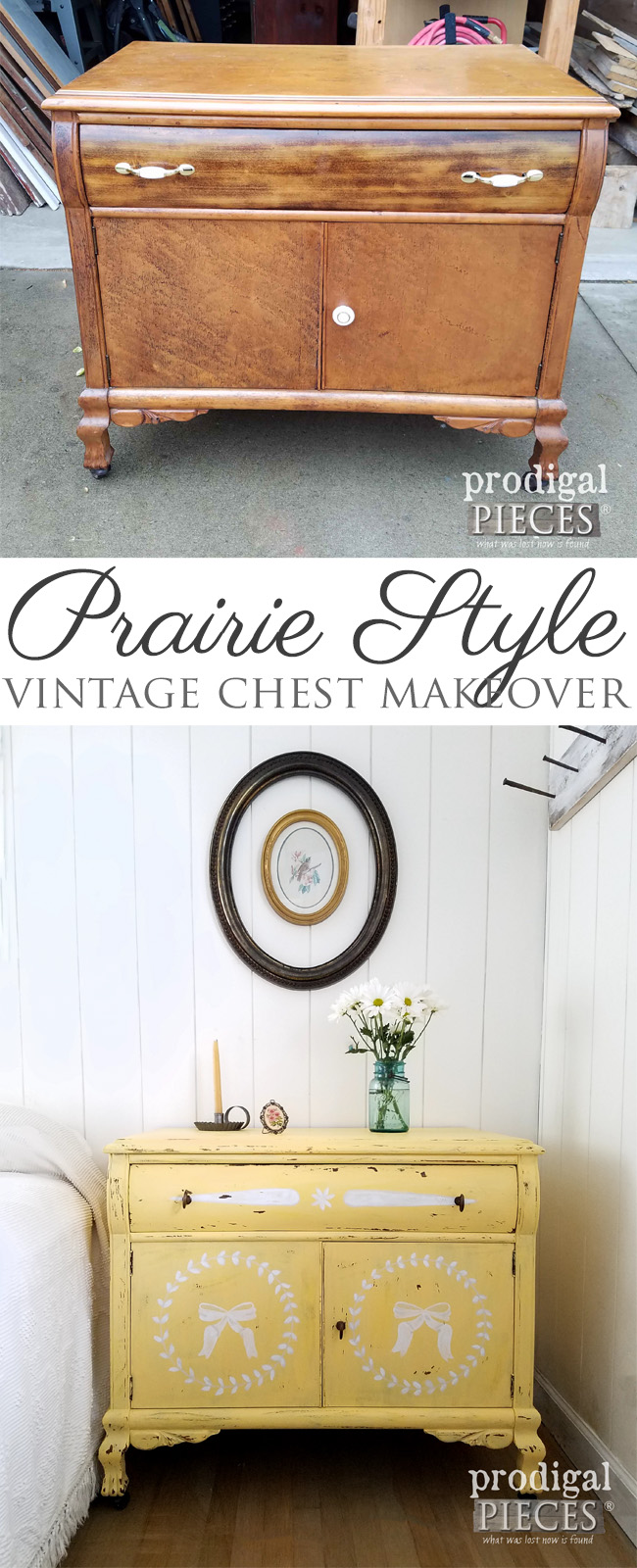 This vintage chest painted yellow adds rustic decor to the neutral bedroom.