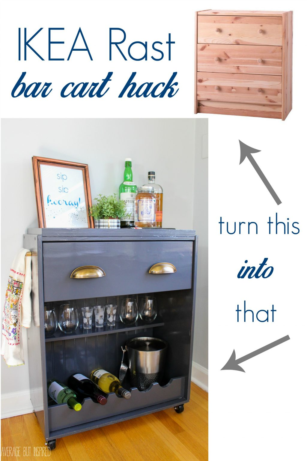 bar cart ikea hacks with farmhouse style the cottage market. Black Bedroom Furniture Sets. Home Design Ideas