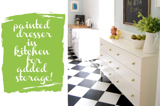 This painted dresser works great as added storage in the kitchen.