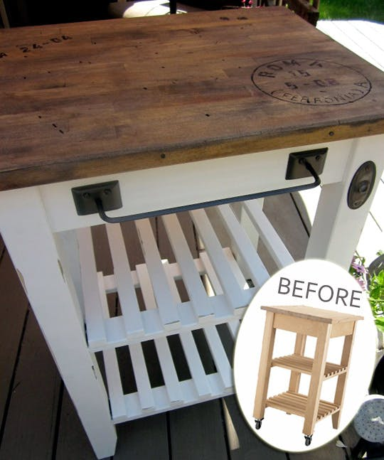 This refinished kitchen cart painted white with a wood top is farmhouse chic.
