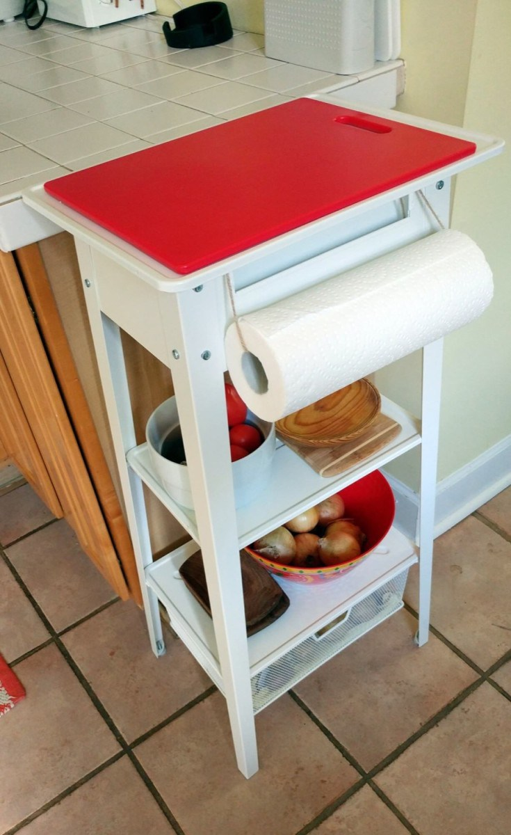 This extra storage in the kitchen is perfect for cutting vegetables.