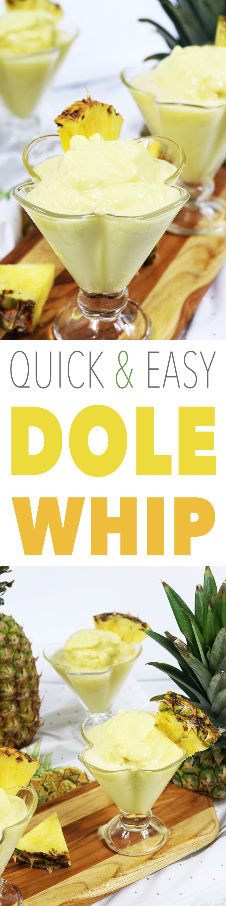 This quick and easy dole whip recipe is bursting with pineapple flavors.