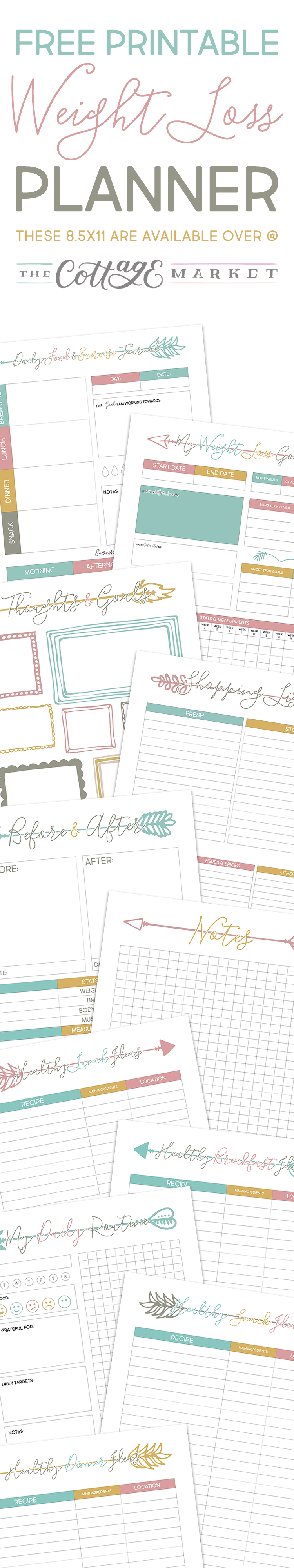 These free printable weight loss planner sheets are great for tracking your meals.