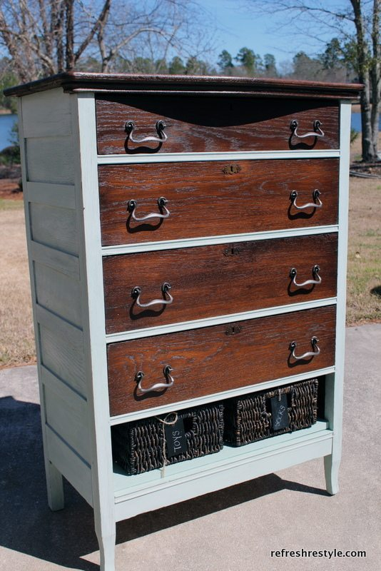 This antique dresser repainted and stained looks brand new again.
