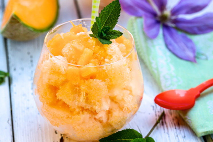 This cantaloupe granita drink is a great dessert choice.