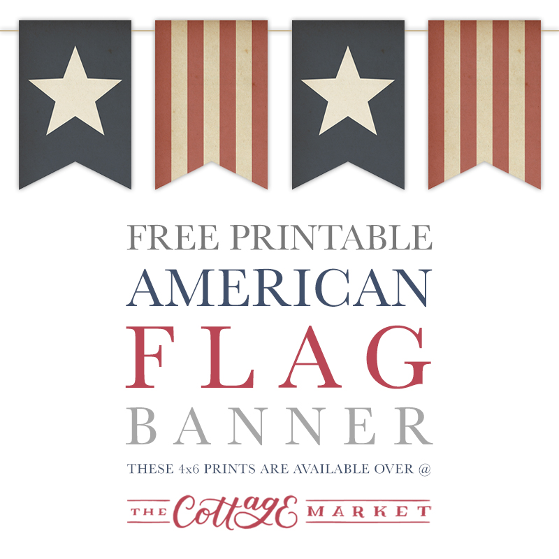 graphic about American Flag Printable named Cost-free Printable American Flag Banner - The Cottage Current market